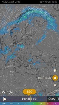 Dlouhodobá předpověď počasí - Windy
