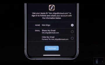 iOS 13 Apple prihlasit se pomoci sign in with