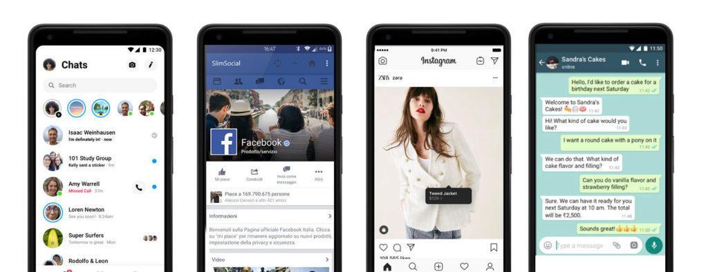 Aplikace Messenger, Facebook, Instagram a WhatsApp