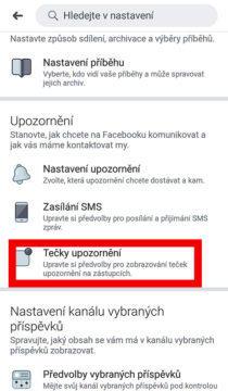 Facebook lišta bez upozornění