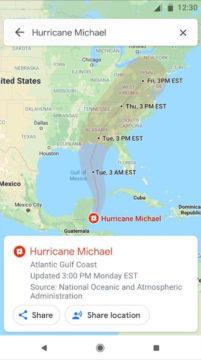 Oblast postižená hurikánem - Google Mapy