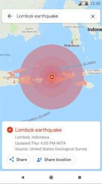 Zobrazení rozsahu zemětřesení - Google Mapy