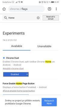 Google Chrome - lišta ovládání dole - restart