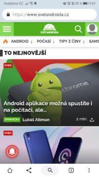 Google Chrome - ovládací lišta přesunuta dolů