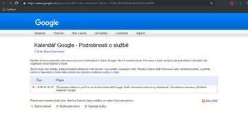 Google hlášení - výpadek kalendáře