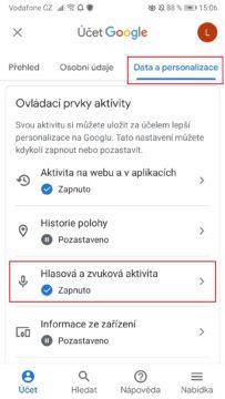 Google - hlasová a zvuková aktivita