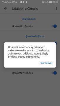 Google kalendář - phishing útoky - vypnutí automatického upozornění