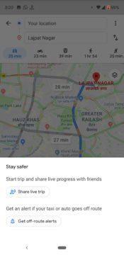 Google mapy hlídají trasu taxi