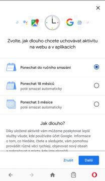 Google mazání aktivit