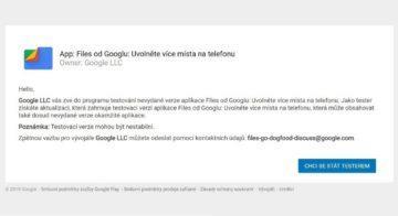 Google - temný režim pro Files - testování