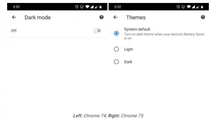 prohlizec google chrome 75 dark mode tmavy rezim aktivace