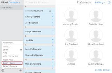 iCloud - kopírování kontaktů - vCard
