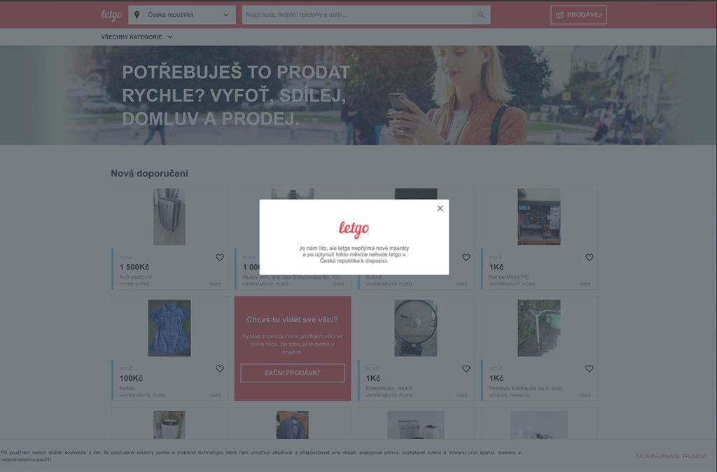 Oznámení na webu - Letgo končí