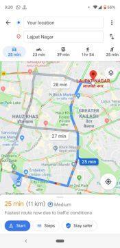 Mapy Google - hlídání taxi