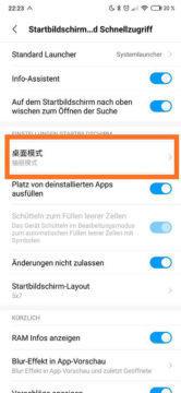 miui launcher menu s aplikacemi nastaveni
