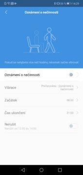 Nastavení oznámení o nečinnosti Xiaomi Mi Band 4