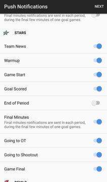 NHL push notifikace novinky