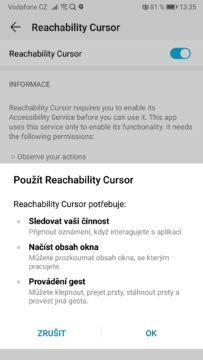Ovládání smartphonu jednou rukou přes Reachability Cursor
