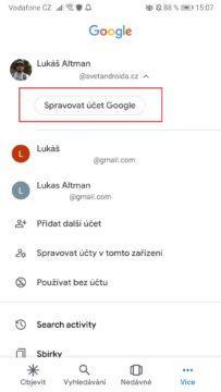 Poslouchá Google? Spravovat účet