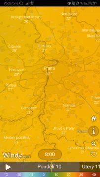 Předpověď počasí - teplota