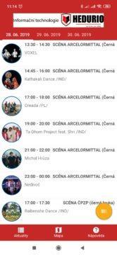 Program plánovaných vystoupení