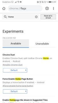 Prohlížeč Chrome - přesunutí lišty dolů - povolení