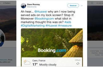 Uživatel stěžující si na reklamu na Twitteru - Huawei a Honor