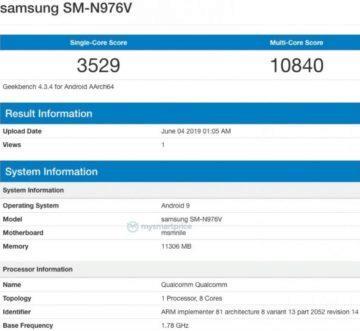 GeekBench Samsung Galaxy Note 10 - procesor Snapdragon