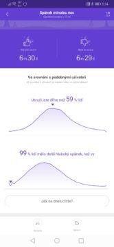 Xiaomi Mi Band 4 vyhodnocení spánku