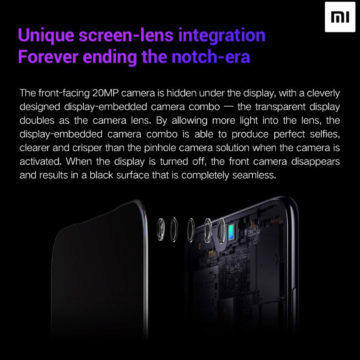 Objektiv Xiaomi selfie kamery v displeji