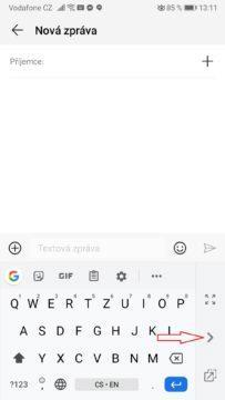 Telefon - ovládání klávesnice jednou rukou
