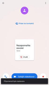 Upomínka na hovor aplikace Google Duo