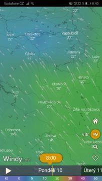 Vítr - Windy předpověď