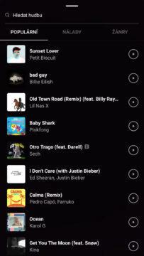 výběr hudby instagram stories