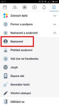 Vypnuti ikony upozornění Facebook
