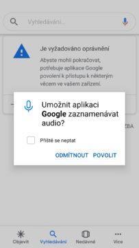 Vypnutý mikrofon - Google neslyší