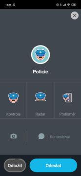 Waze - nahlášení policie