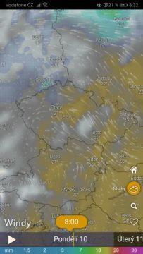 Windy - předpověď počasí - mraky