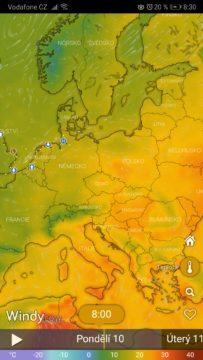 Windy předpověď počasí - teplota