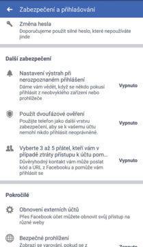 zabezpečení facebook účet