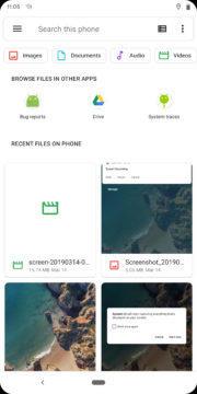 Vyhledávání ve správci souborů Android Q