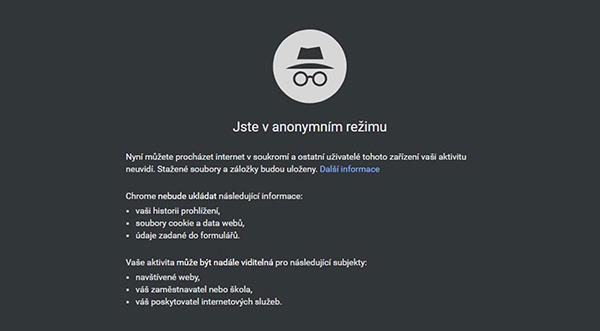 anonymní prohlížení google chrome