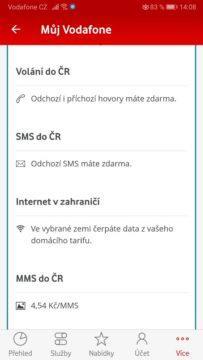 Ceny roamingu - Vodafone