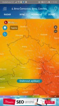 Česko - teplota - předpověď počasí