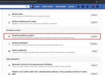 Facebook - dvoufázové ověřování hesla