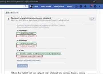 Facebook - hack - nastavení upozornění