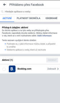 facebook propojené účty
