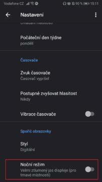 Google hodiny - Dark mode
