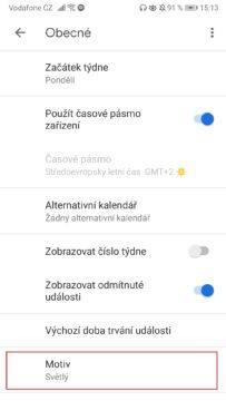 Google kalendář - Dark mode