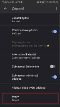 Google kalendář - temný režim